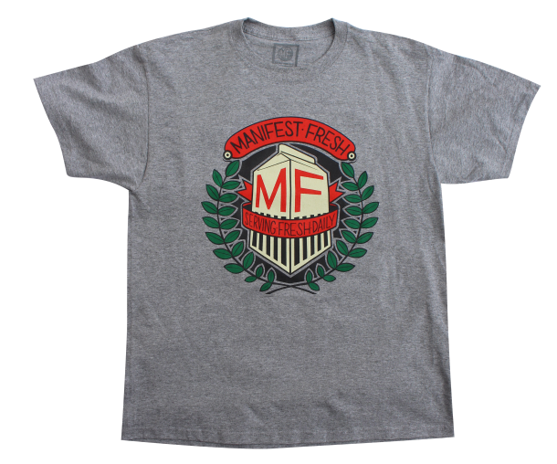 Serving Fresh Daily Shirt. A classic cartoon of milk with red banners between green olive branches served fresh on a grey shirt. S-XXL [$20]