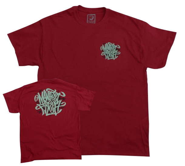 Handstyle Shirt. Featuring a handstyle MF tag in diamond blue with accents in black. Design appears on the left chest and back of a burgundy shirt. S-XXL [$20]